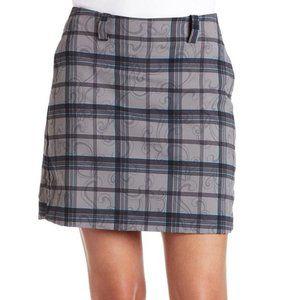 Nike Golf Scroll Plaid Skort Skirt Gray Dri-fit